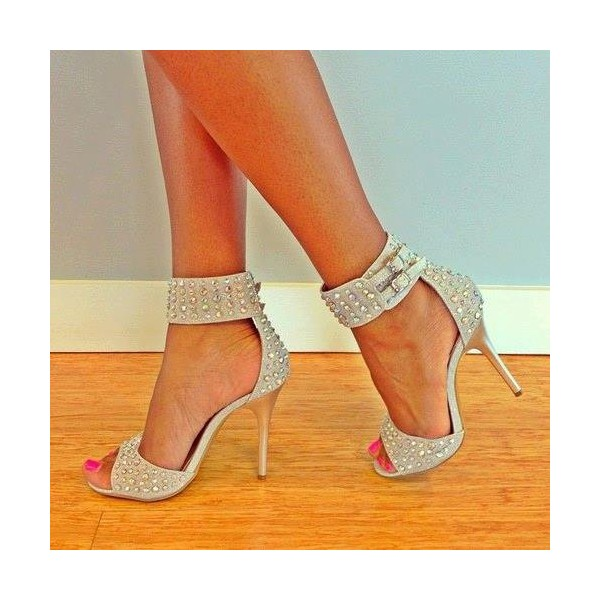 Beige Ankle Strap Sandals Open Toe Studded Stiletto Heels image 1
