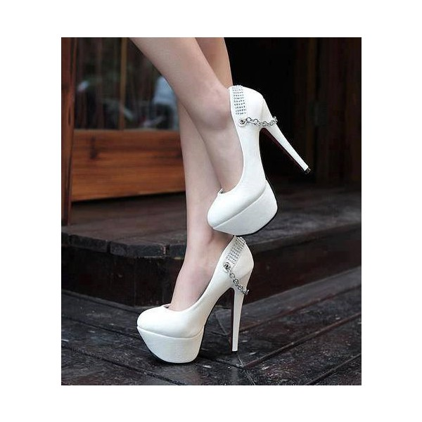White Platform Heels Stilettos Pumps Metal Chain High Heel Shoes image 1