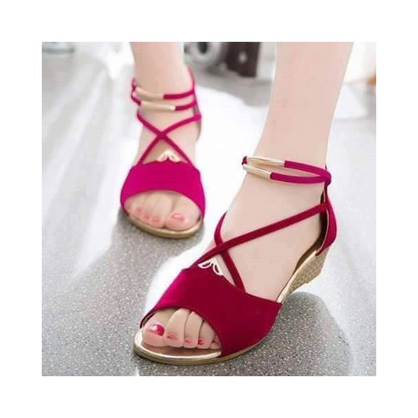 Magenta Suede Wedge Sandals Open Toe Crisscross Strap Low Heel Sandals image 1
