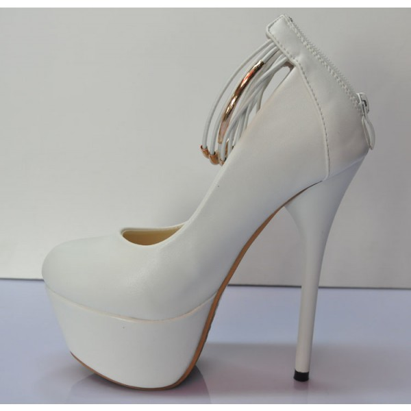 White Platform Heels Ankle Strap Stiletto Heels Pumps High Heel Shoes image 2