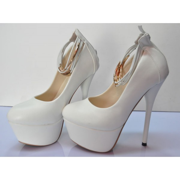 White Platform Heels Ankle Strap Stiletto Heels Pumps High Heel Shoes image 4