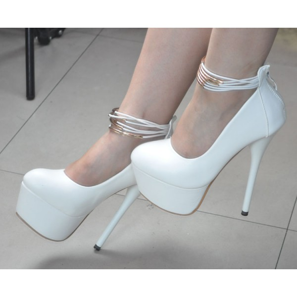 White Platform Heels Ankle Strap Stiletto Heels Pumps High Heel Shoes image 3