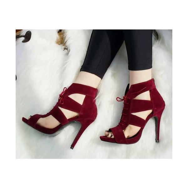 Burgundy Suede Hollow-out Lace Up Heels Stiletto Heels Sandals image 2