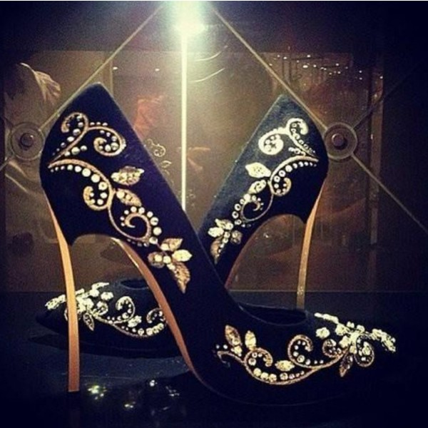 Black and Gold Wedding Heels Embroidered Rhinestone Pumps  image 2