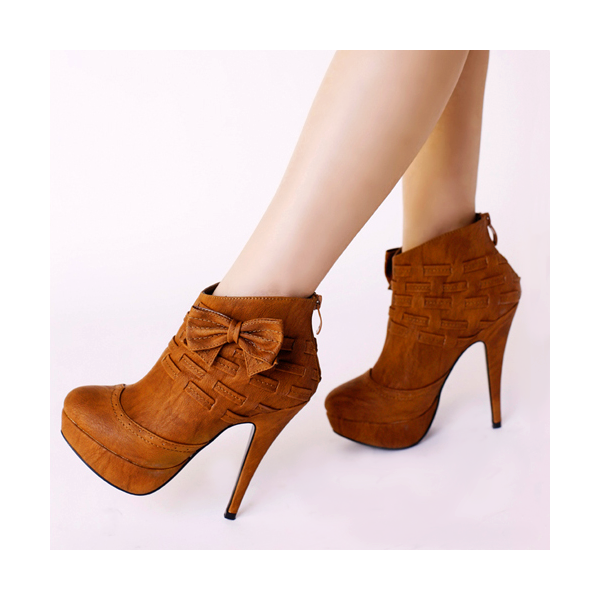 Tan Boots Platform High Heel Shoes Ankle Booties with Bow image 1