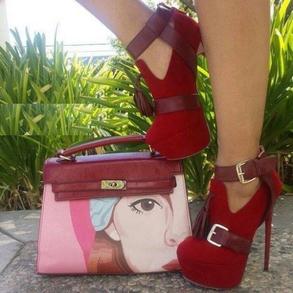 Red Stiletto Boots Ankle Strap Platform Ankle Booties with Tassels image 1