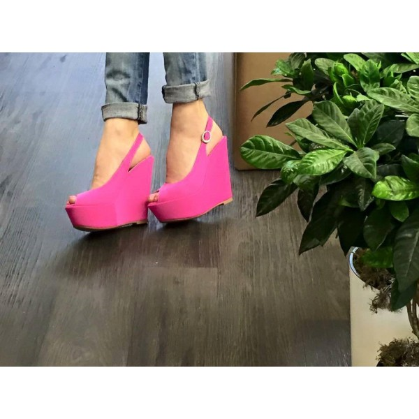 Women's Magenta Peep Toe Slingback Wedge Heels Sandals  image 2