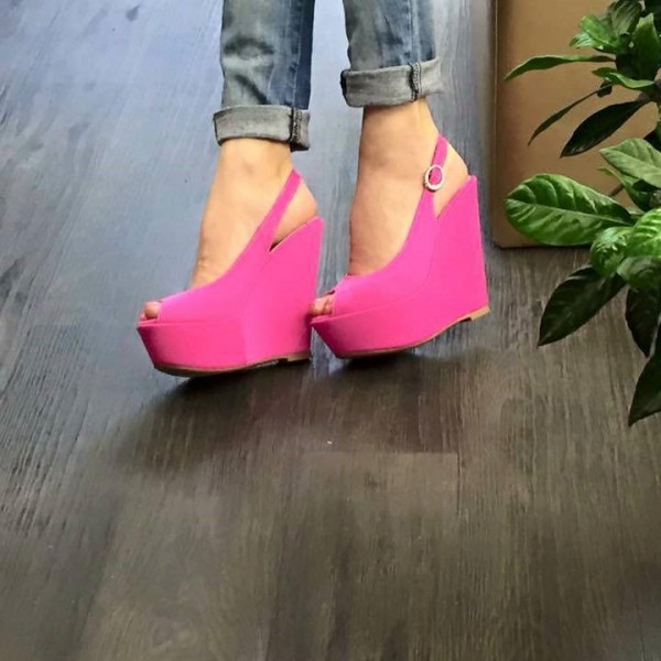 Women's Magenta Peep Toe Slingback Wedge Heels Sandals  image 1