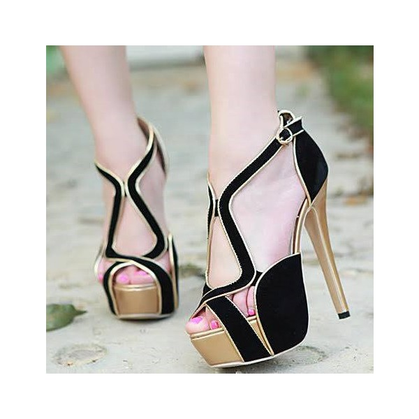 Women's Black and Golden Stiletto Heels Platform Sandals  image 1