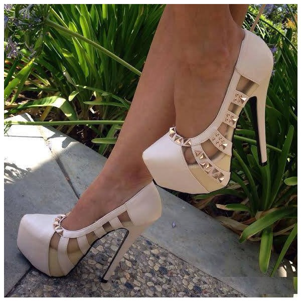 Women's White Rivets Stiletto Heel Hollow-out Platform Shoes image 1