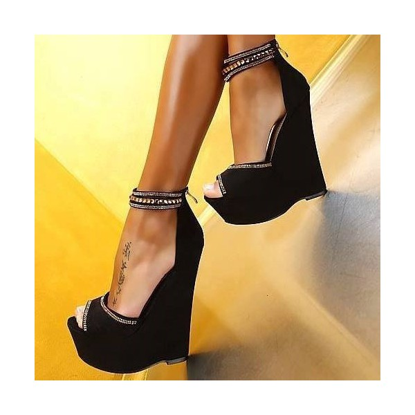 Women's Black Peep Toe Wedge Heels Rhinestone Super High Stripper Heels Pumps image 1