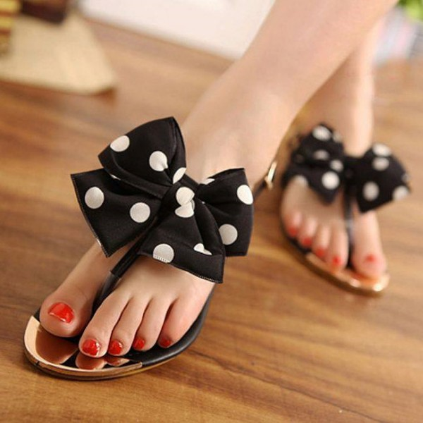 Black and White Polka Dots Beach Sandals Summer Flat Bow Sandals image 1