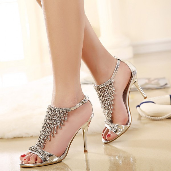 Champagne Evening Shoes T Strap Sandals Rhinestone Prom Shoes image 2