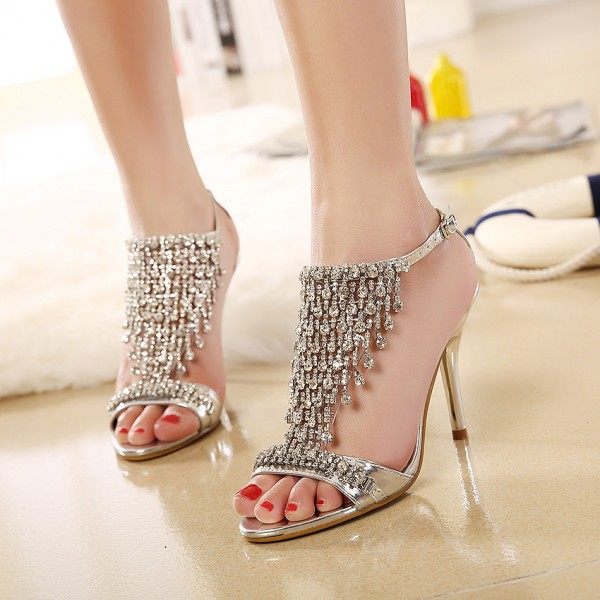 Champagne Evening Shoes T Strap Sandals Rhinestone Prom Shoes image 3