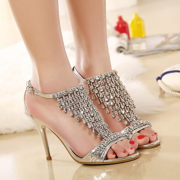 Champagne Evening Shoes T Strap Sandals Rhinestone Prom