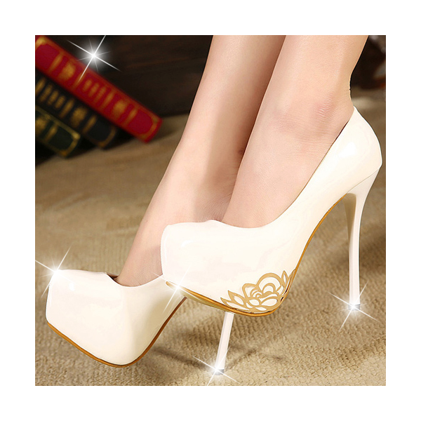White White Delicate Golden Flower Stiletto High Heels Bridal Shoes  image 1