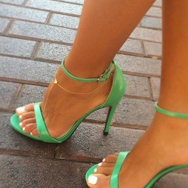 Women's Green Ankle Strap Sandals 4 inches High Heel Shoes image 1