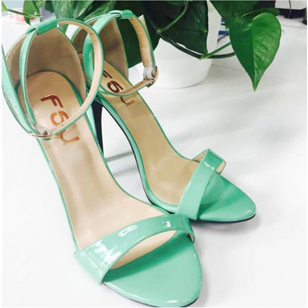 Women's Green Ankle Strap Sandals 4 inches High Heel Shoes image 2