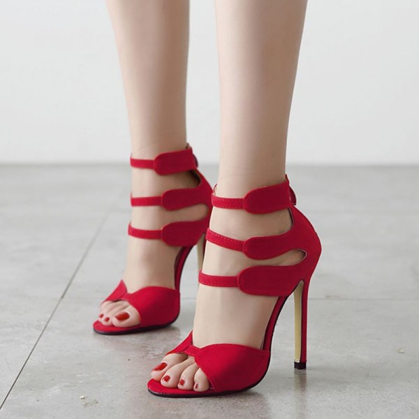 Women's Red Stiletto Heels Dress Shoes Open Toe Ankle Strap Sandals  image 2