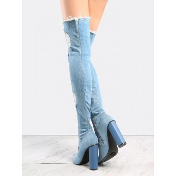 Light Blue Denim Boots Block Heel Over-the-knee Boots for Women image 2