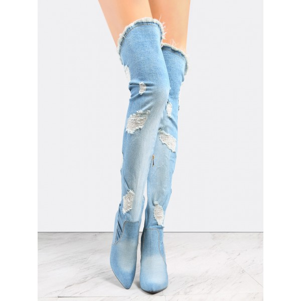 Light Blue Over-the-knee Denim Boots Block Heel Boots for Women image 4
