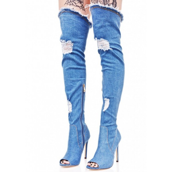Women's Blue Jeans Stiletto Heels Over-The- Knee Denim Boots image 3
