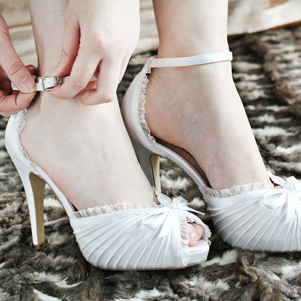 Women's White Lace Bow Ankle Strap Stiletto Heels Satin Bridal Shoes image 3