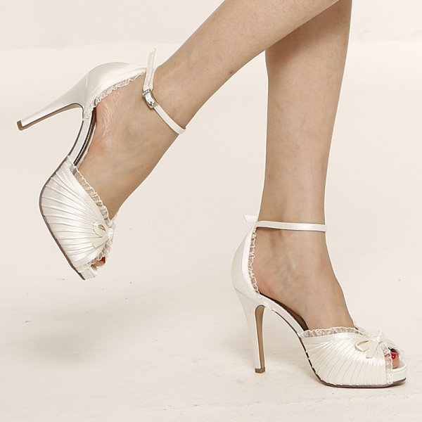 Women's White Lace Bow Ankle Strap Stiletto Heels Satin Bridal Shoes image 2