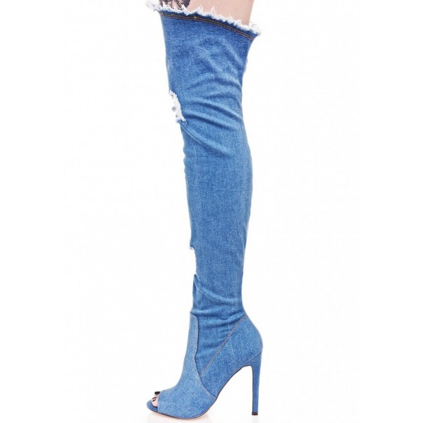 Women's Blue Jeans Stiletto Heels Over-The- Knee Denim Boots image 4