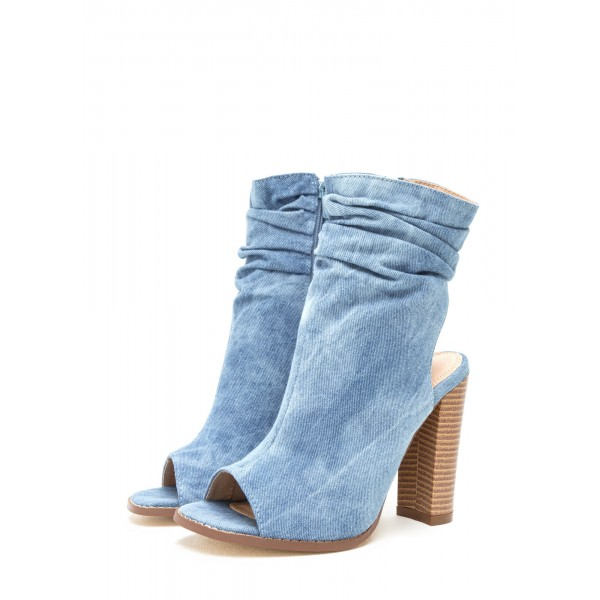 Blue Denim Boots Open Toe Chunky Heel Slouch Boots image 1