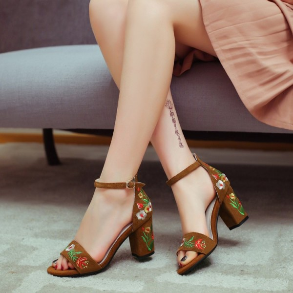 Suede Ankle Strap Sandals Brown Floral Block Heels image 1