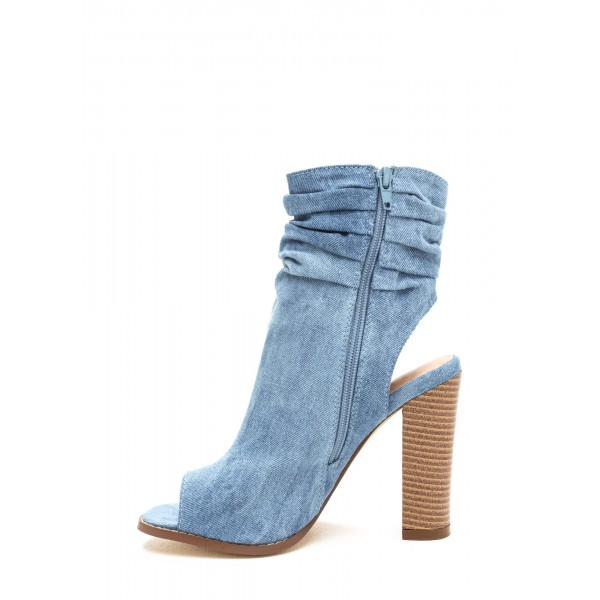 Blue Denim Boots Open Toe Chunky Heel Slouch Boots image 2