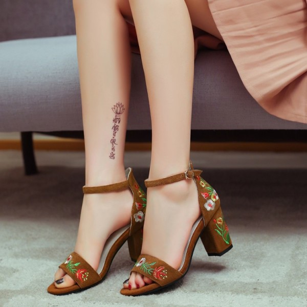 Suede Ankle Strap Sandals Brown Floral Block Heels image 3