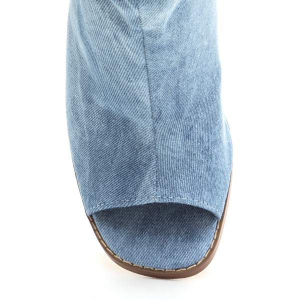 Blue Denim Boots Open Toe Chunky Heel Slouch Boots image 3