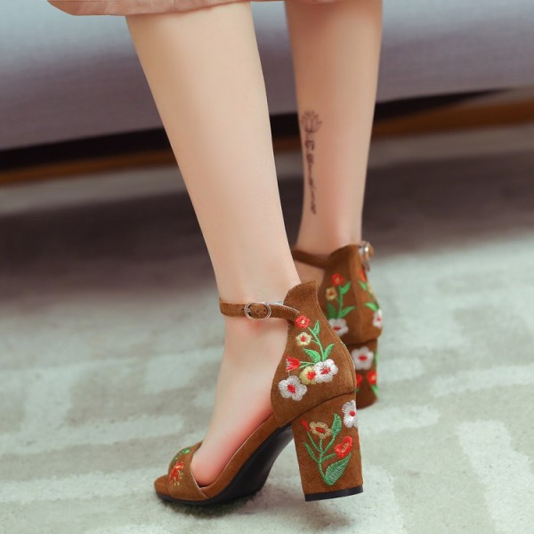 Suede Ankle Strap Sandals Brown Floral Block Heels image 2