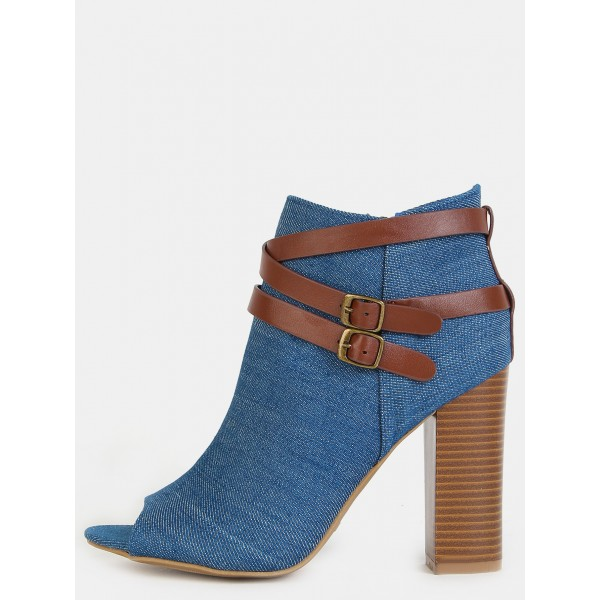 Women's Blue Jeans Peep Toe Ankle Buckle  Denim Boots image 2