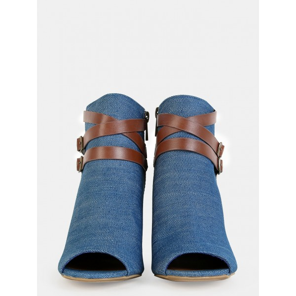 Women's Blue Jeans Peep Toe Ankle Buckle  Denim Boots image 3