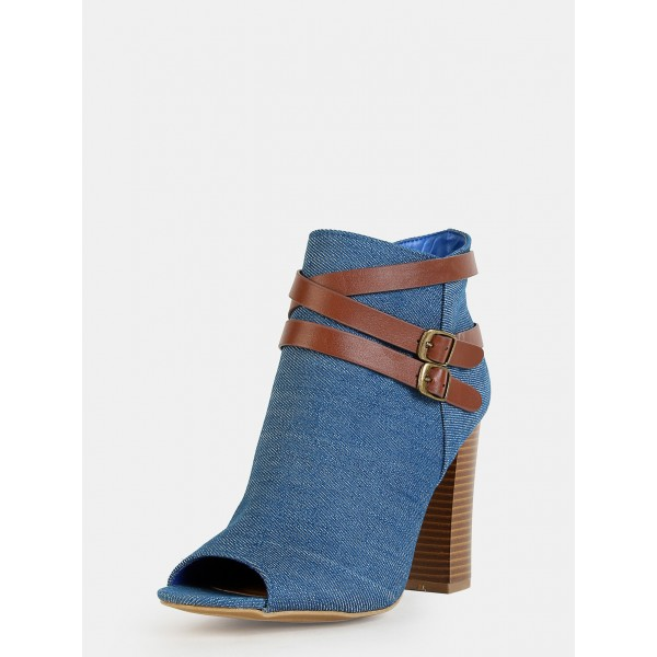 Women's Blue Jeans Peep Toe Ankle Buckle  Denim Boots image 1