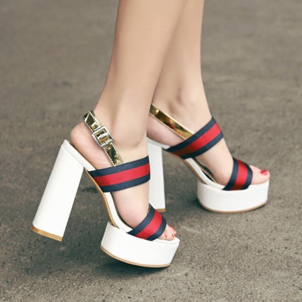 Women's Red and Golden Platform Block Heel Sandals image 4