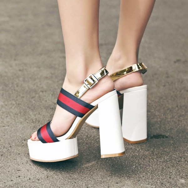 Women's Red and Golden Platform Block Heel Sandals image 5