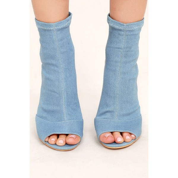 Light Blue Denim Boots Peep Toe Slingback Chunky Heel Sock Boots image 2