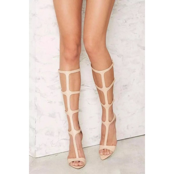Nude Gladiator Heels Stiletto Heels Open Toe Sexy Sandals image 1