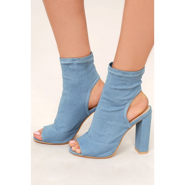 Blue Jeans Denim Boots Slingback Ankle Booties for Women image 1