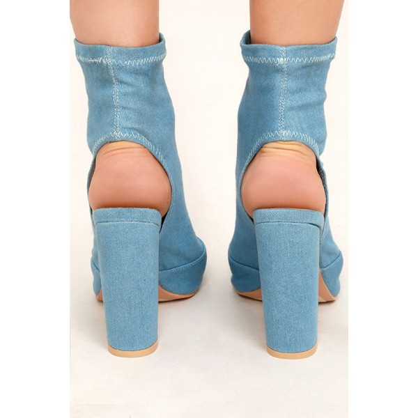 Light Blue Denim Boots Peep Toe Slingback Chunky Heel Sock Boots image 3
