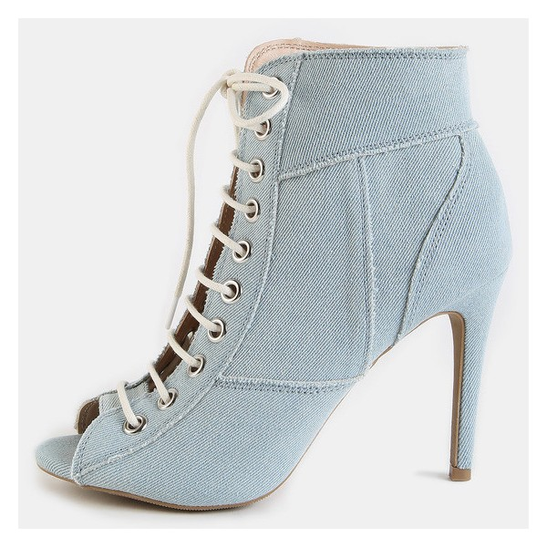 Light Blue Denim Boots Peep Toe Stiletto Heel Lace up Ankle Booties image 1