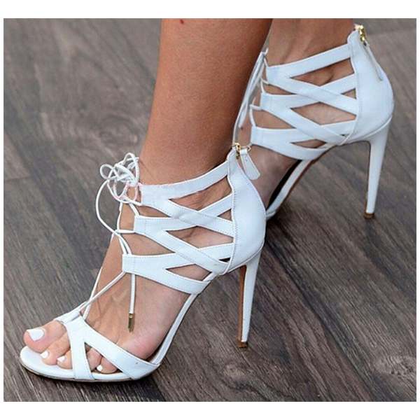 White Lace up Sandals Open Toe Stiletto Heel Strappy Sandals image 2