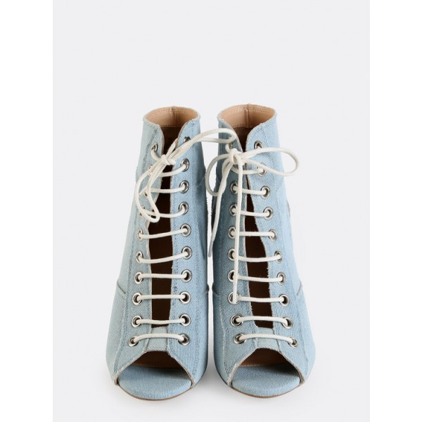 Light Blue Denim Boots Peep Toe Stiletto Heel Lace up Ankle Booties image 2