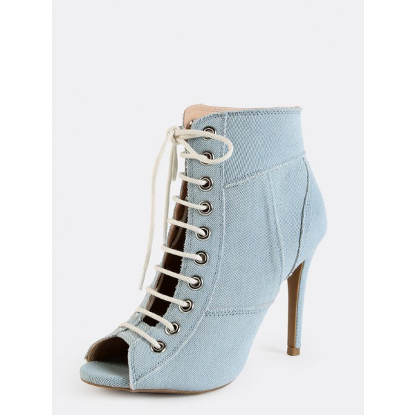Light Blue Denim Boots Peep Toe Stiletto Heel Lace up Ankle Booties image 3
