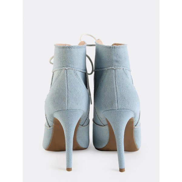 Light Blue Denim Boots Peep Toe Stiletto Heel Lace up Ankle Booties image 4