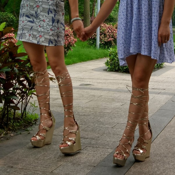 Women's Golden Heels Wedge Sandals Lace-up Strappy Knee High Gladiator Sandals image 1